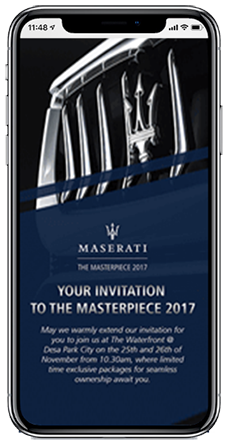 Masterpiece by Maserati Campaign event invitation work