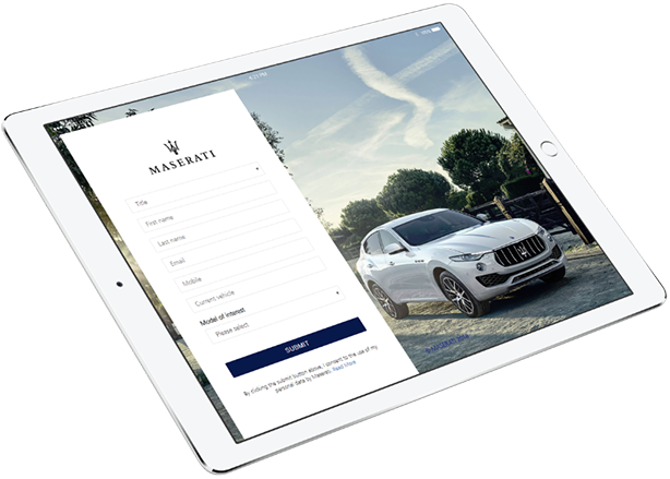 Masterpiece by Maserati Campaign iPad landing page event registration form work