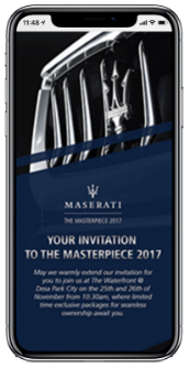 Masterpiece Maserati Campaign registration landing page newsletter